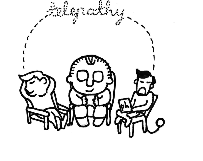 Fig. 7. Oskar seated between Brynjar and Manuel, in a telling panel where Oskar cannot remember a word that the other two characters are already piecing together, in the same harmony as in the previous book.