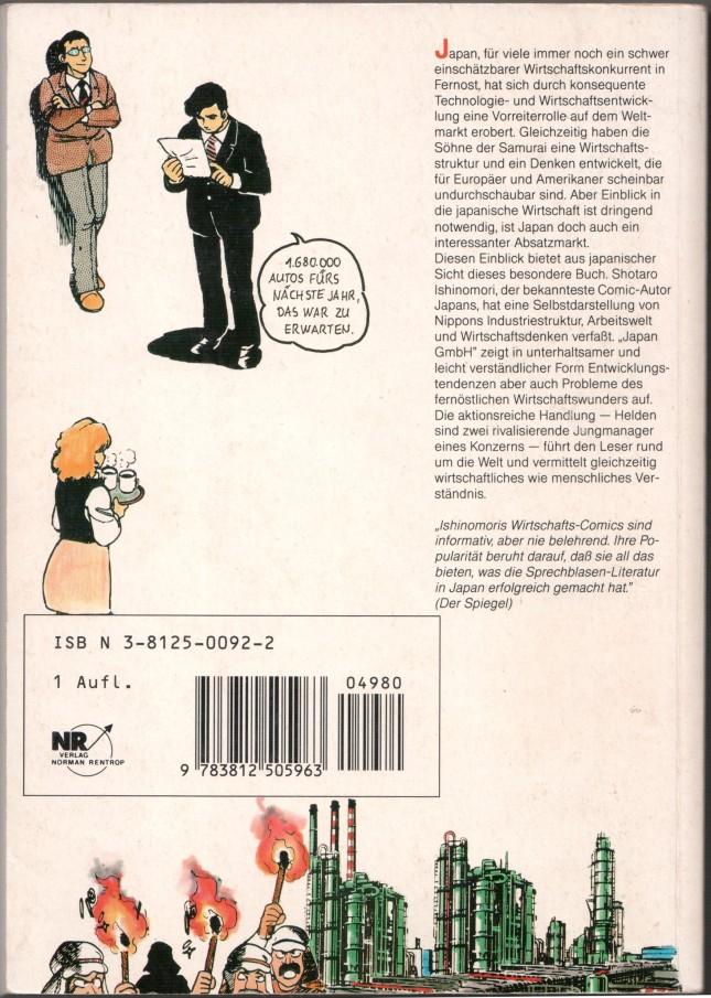 Shōtarō Ishinomori: Japan GmbH, back cover. © 1989 Verlag Norman Rentrop.