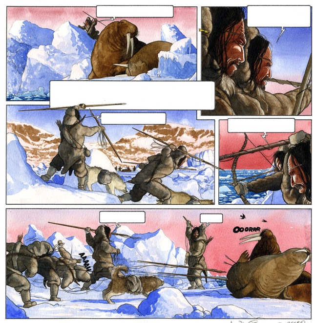 Figure 4: Nuka has created a hunting scene using archaeological finds like the bow and arrow, but partially using his imagination for the clothing style