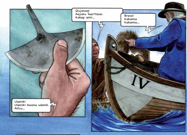Figure 6b: Two drawings from the third book, The Gift. One of the aims of this book is to show meetings between different cultures. These drawings show a meeting between the Inuit and the Dutch whale hunters.