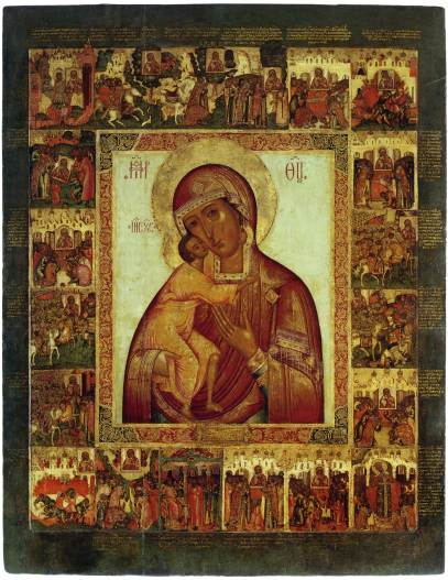 Hagiographical icons with various border scenes: Nicolas the Wonderworker (the 14th century) and Our Lady of Saint Theodore, with legendary tales, text, and scenes in the margins (the 18th century). Public domain.