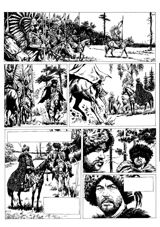 Example pages from the graphic novels Commander Sodis and the Captive of The Mascarene Islands (script by Andrey Berezhanskiy, artwork by Andrey Alyoshin); Azazel (Alexey Kuzmichyov's graphic adaptation of Boris Akunin's novel); and 1612 (the adaptation by Vladimir Sakharnov, artwork by Roman Surzhenko). Used with permission of Andrey Alyoshin, Alexey Kuzmichyov and Roman Surzhenko.